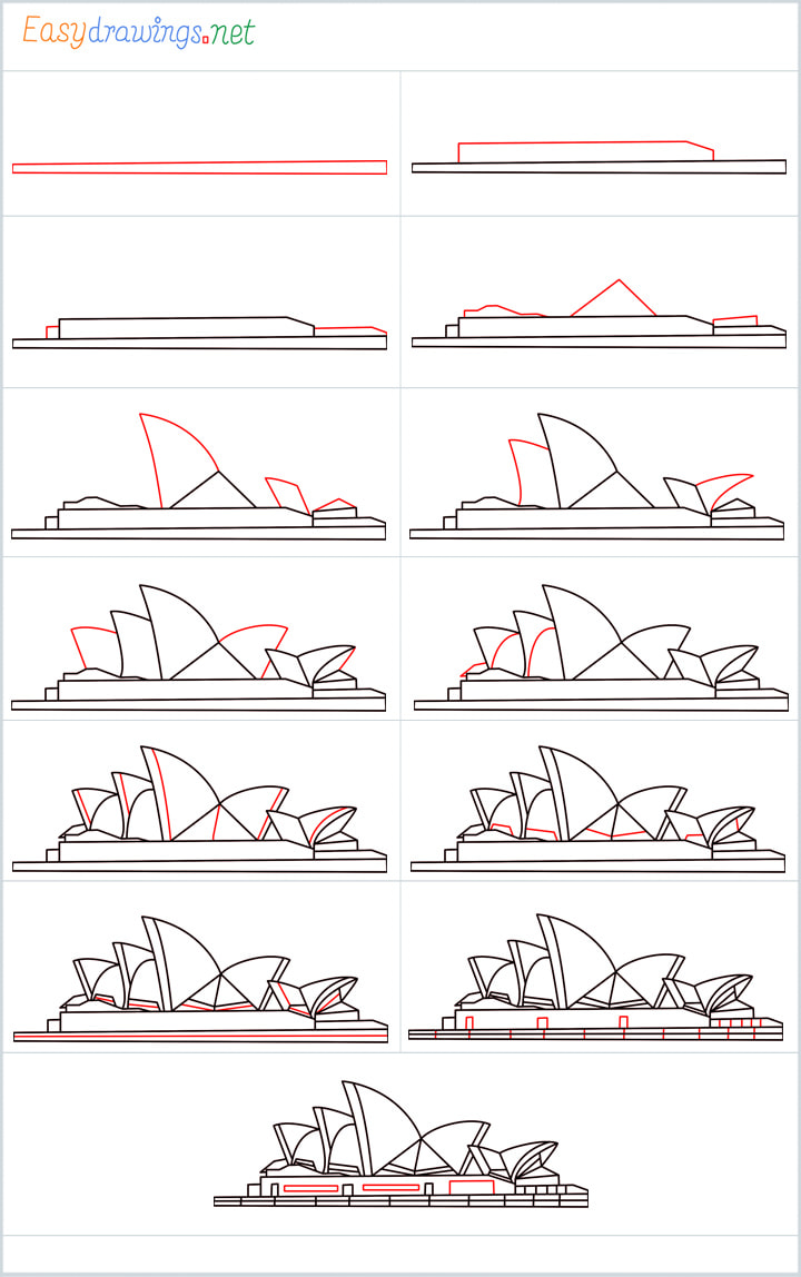 Overview for Opera House drawing all steps in one place