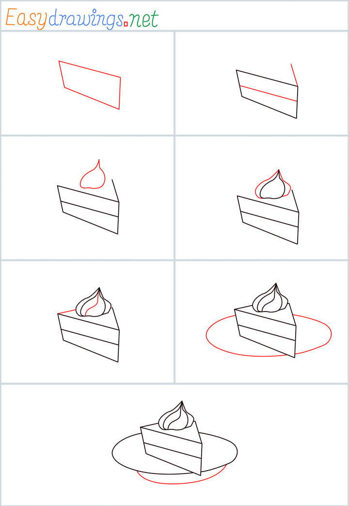Overview for Pie cake drawing all steps in one place
