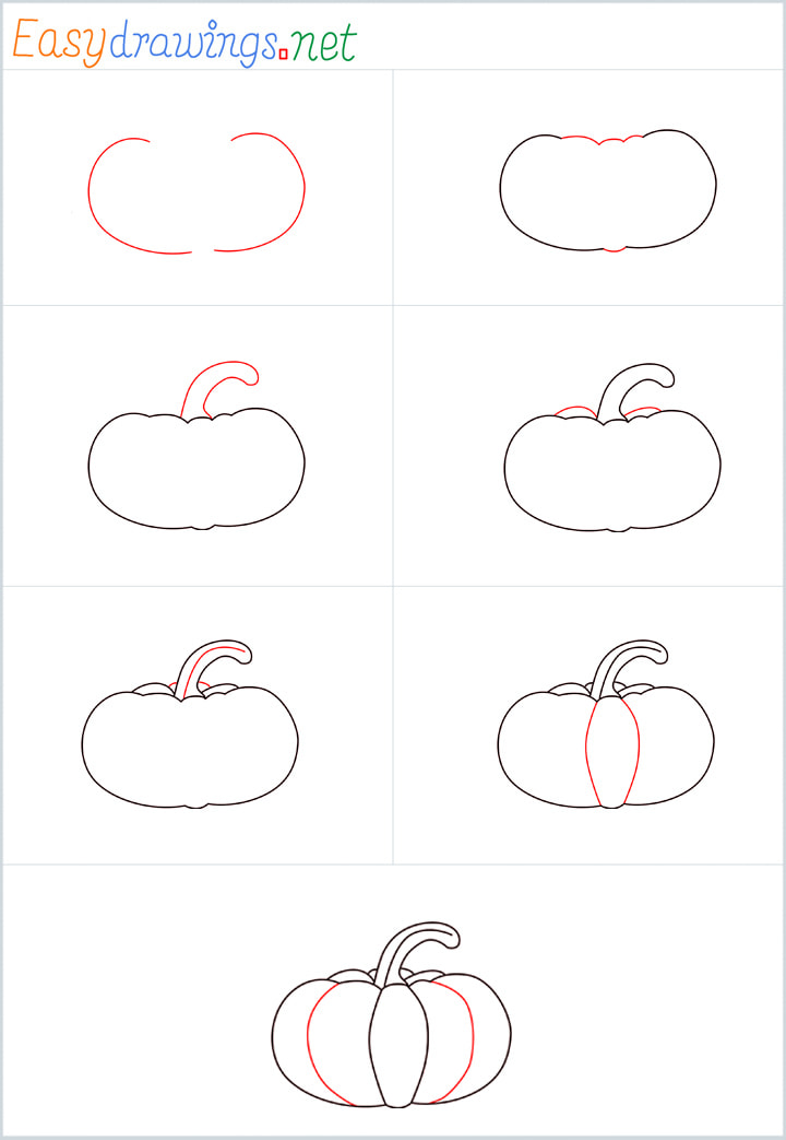 Overview for Pumpkin drawing all steps