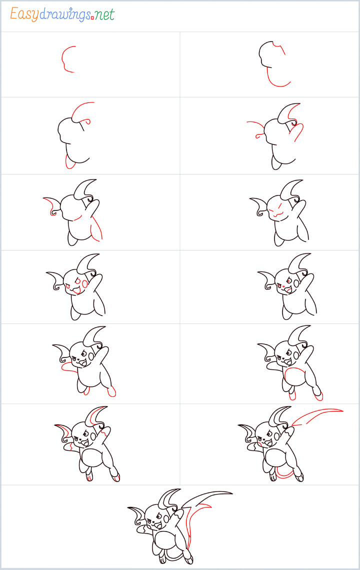 Overview for Raichu drawing all steps