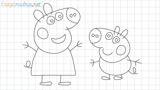 Peppa pig grid line drawing