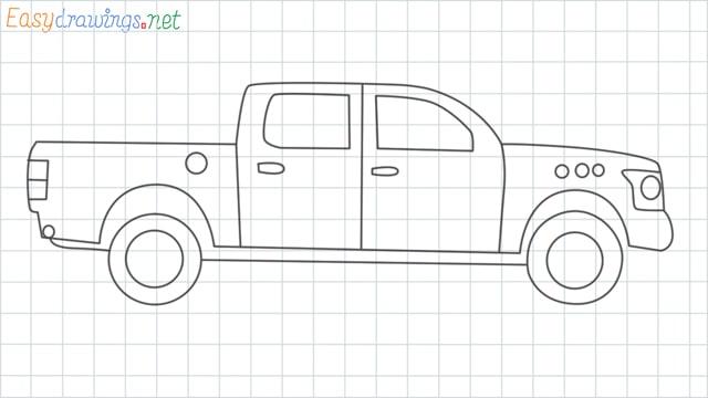Pickup truck grid line drawing
