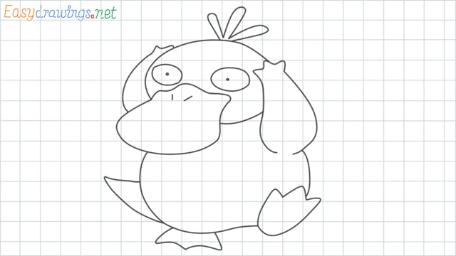 Psyduck grid line drawing