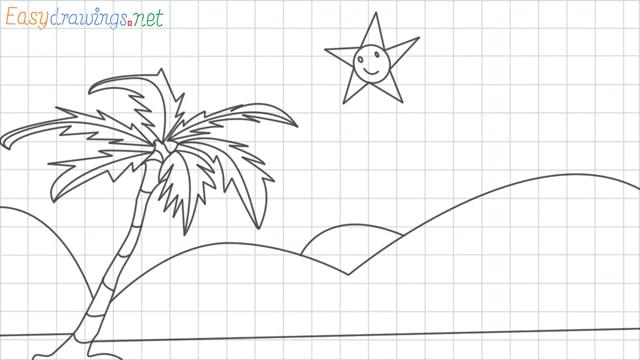 Scenery for kindergarten grid line drawing