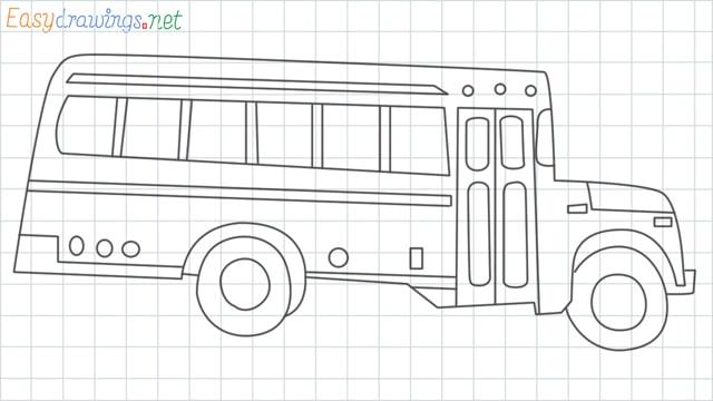 School bus grid line drawing