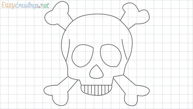 Skull grid line drawing
