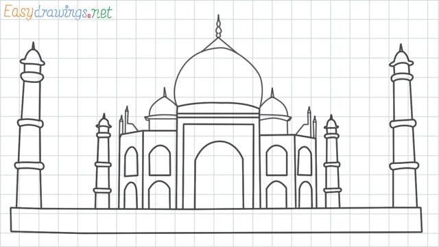 Taj mahal grid line drawing