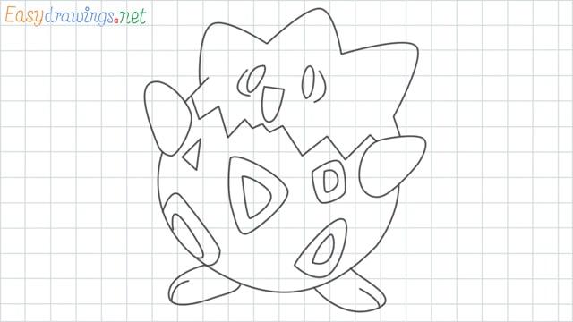 Togepi grid line drawing