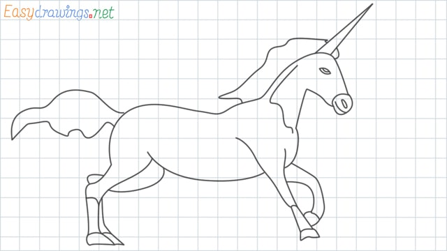 Unicorn grid line drawingUnicorn grid line drawing