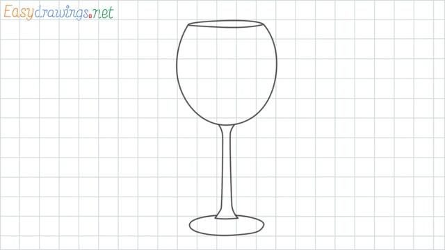 Wine glass grid line drawing