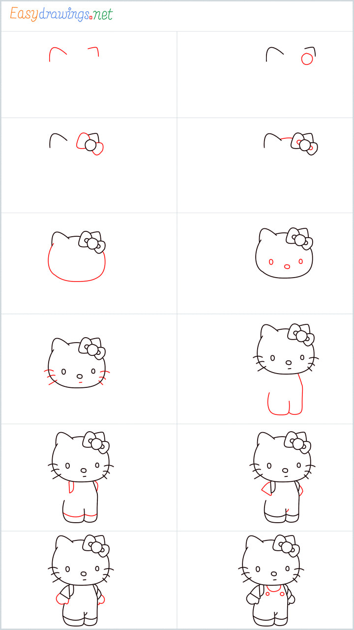 all in one steps for Hello Kitty drawing