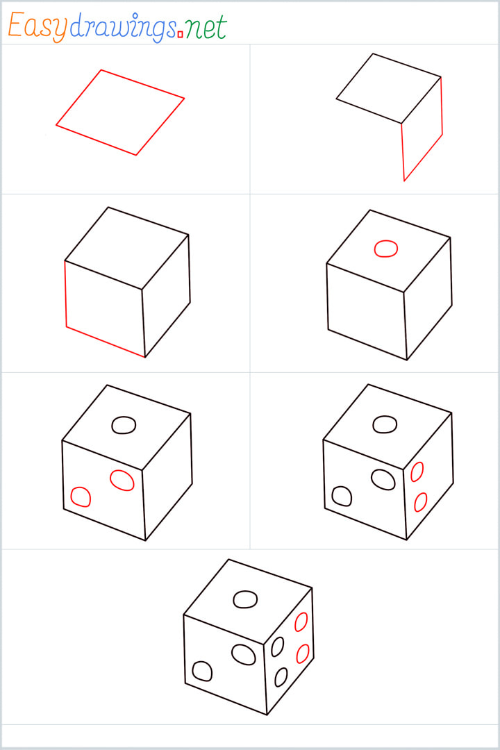 all reference outline drawing in one place for Dice drawing tutorial