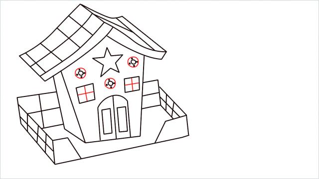 How to Draw a Gingerbread House step (13)