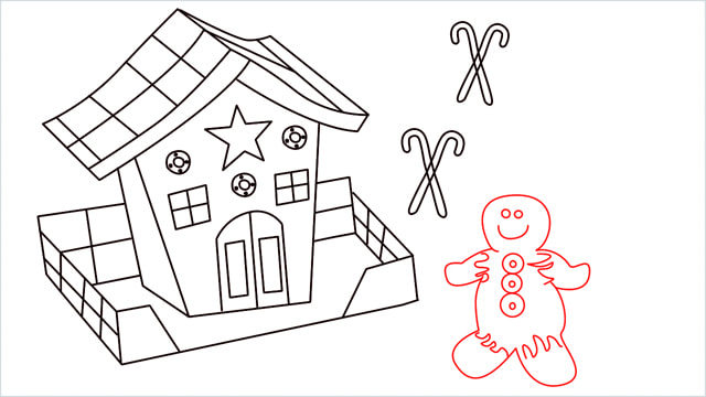 How to Draw a Gingerbread House step (15)