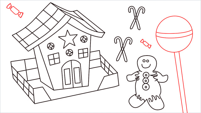 How to Draw a Gingerbread House step (16)