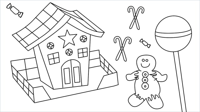 How to Draw a Gingerbread House step by step for beginners