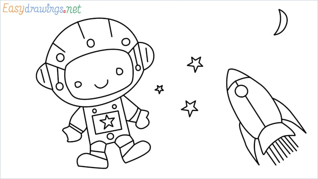How to draw An astronaut step by step for beginners