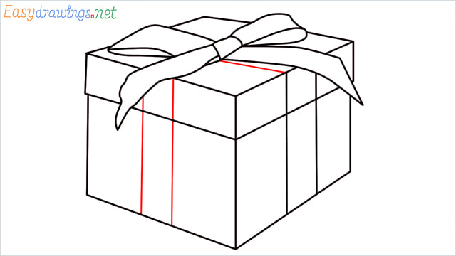 How to draw Christmas presents box step (10)