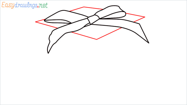 How to draw Christmas presents box step (5)