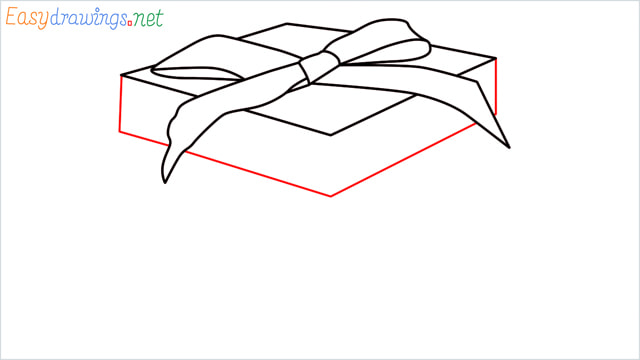 How to draw Christmas presents box step (6)