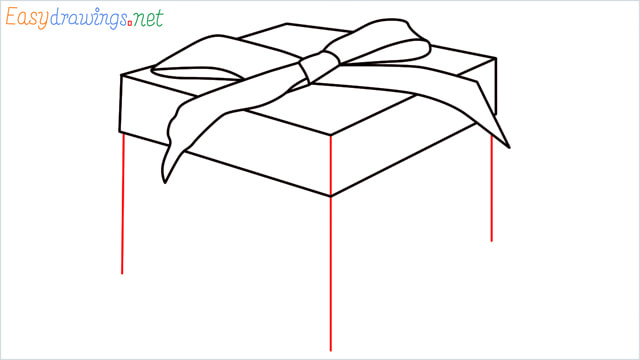 How to draw Christmas presents box step (7)