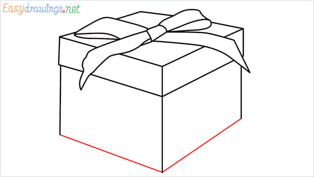 How to draw Christmas presents box step (8)