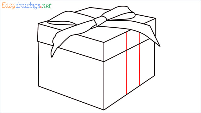 How to draw Christmas presents box step (9)
