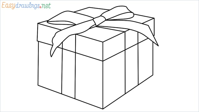 How to draw Christmas presents box step by step for beginners