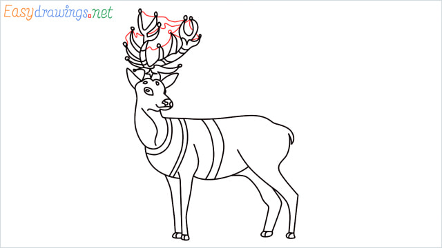 How to draw a Reindeer step (18)