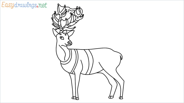 How to draw a Reindeer step by step for beginners