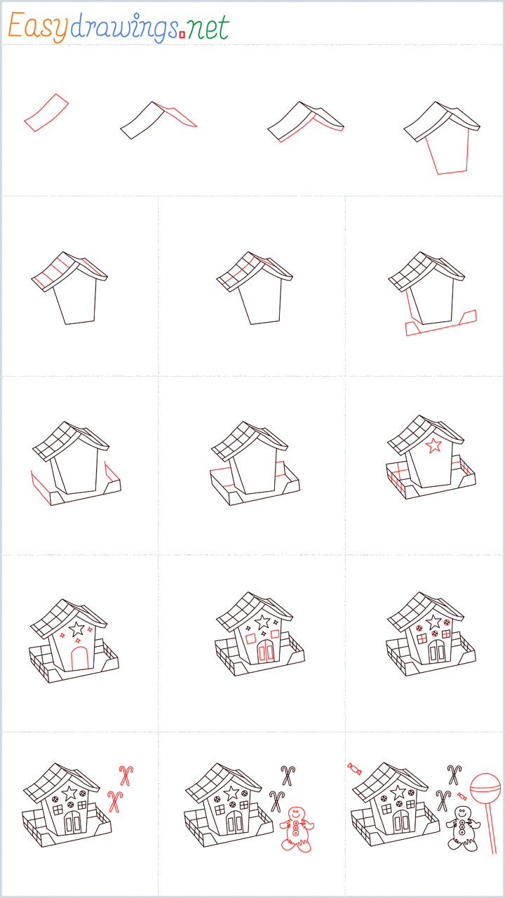 Overview Gingerbread House drawing steps