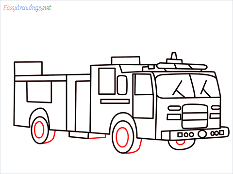 how to draw a fire engine truck step (13)