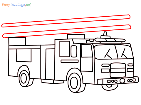 how to draw a fire engine truck step (14)