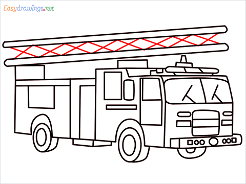 how to draw a fire engine truck step (15)
