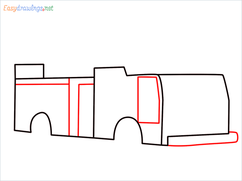 how to draw a fire engine truck step (4)