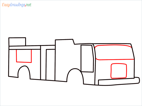 how to draw a fire engine truck step (5)