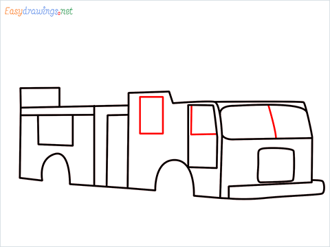 how to draw a fire engine truck step (6)