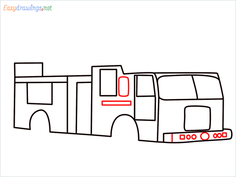 how to draw a fire engine truck step (7)