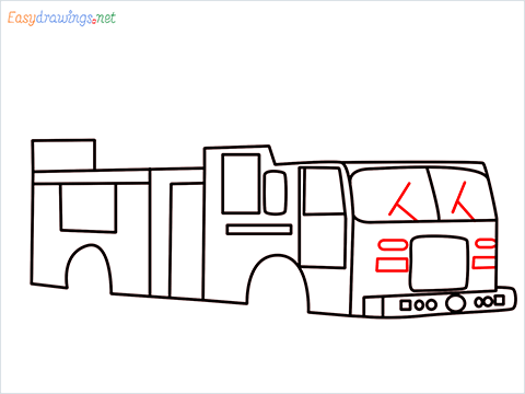how to draw a fire engine truck step (8)