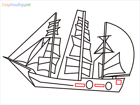 how to draw a pirate ship step (10)