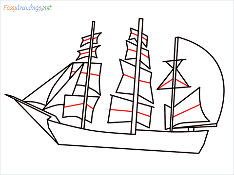 how to draw a pirate ship step (7)