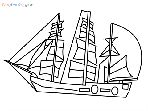 how to draw a pirate ship step by step for beginners