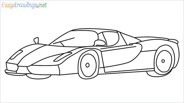 how to draw ferrari car step by step for beginners