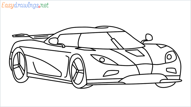 how to draw koenigsegg agera step by step for beginners