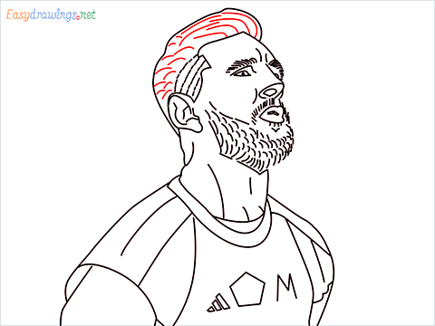 how to draw Lionel Messi step (16)