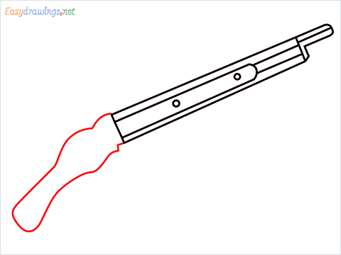 how to draw M1887 Short Gun step (5)