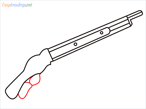 how to draw M1887 Short Gun step (6)