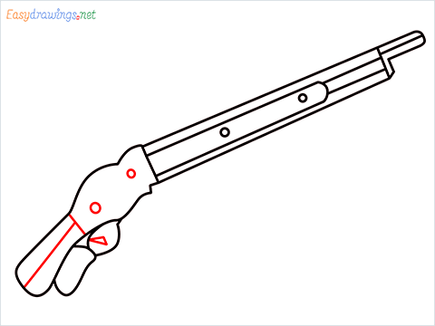 how to draw M1887 Short Gun step (7)