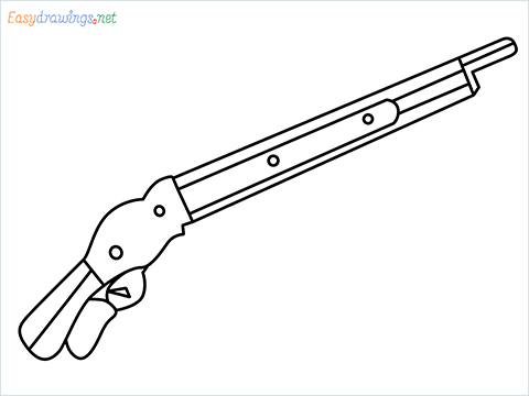 how to draw M1887 Short Gun step by step for beginners