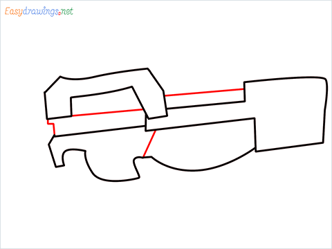 how to draw P90 GUN step (4)